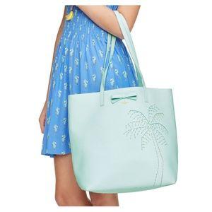 Kate Spade Tote Bag Purse Teal Palm Tree Shoulder